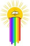 Zon met regenboog Royalty-vrije Stock Fotografie
