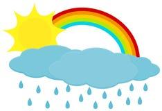 Zon met regenboog en wolken royalty-vrije illustratie