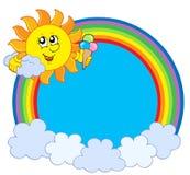 Zon met roomijs in regenboogcirkel Stock Afbeeldingen