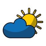 zon met wolk geïsoleerd pictogram Royalty-vrije Stock Afbeelding