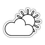 zon met wolk geïsoleerd pictogram Royalty-vrije Stock Foto's