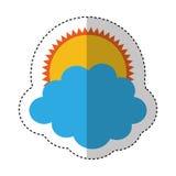 zon met wolk geïsoleerd pictogram Stock Foto