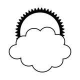 zon met wolk geïsoleerd pictogram Royalty-vrije Stock Afbeeldingen