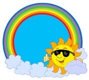 Zon met wolk in regenboogcirkel Stock Afbeeldingen