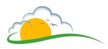 Zon met wolken en vogels stock illustratie