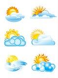 Zon met wolkenpictogrammen Stock Foto's