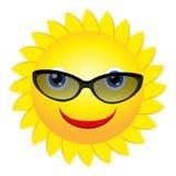 Zon met zonnebril Stock Foto