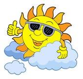 Zon met zonnebril Royalty-vrije Stock Afbeelding