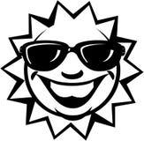 Zon met zonnebrilbeeldverhaal Vectorclipart stock fotografie