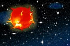 Zon op een sterrige hemel Stock Afbeeldingen