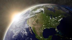 Zon over Noord-Amerika vector illustratie