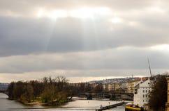 Zon over Praag Stock Foto