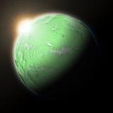 Zon over Vreedzame Oceaan op groene aarde Royalty-vrije Stock Afbeelding