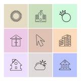 zon, school, gebouwen, wijzer, pijl, ecologie, zon, clou vector illustratie