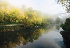 Zon van de het Park in de herfst Ochtend van de Cuyahogavallei de Nationale - OHIO royalty-vrije stock afbeeldingen