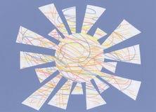 Zon van multi-colored doorgestreepte lijnen, kinderen` s tekening Stock Illustratie