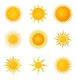 Zon vastgestelde pictogrammen Royalty-vrije Stock Afbeeldingen