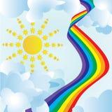 Zon, wolken en ongebruikelijke regenboog Stock Foto