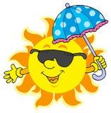 Zon in zonnebril met paraplu Stock Fotografie