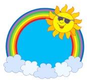 Zon in zonnebril in regenboogcirkel Stock Afbeelding