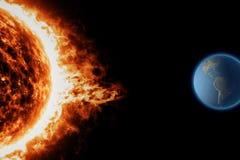 Zon, zonneonweer van het aarde het ruimteheelal Stock Afbeelding