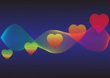 Zona astratta variopinta di frequenza cardiaca dell'onda Fotografie Stock Libere da Diritti