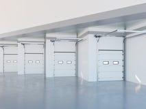 Zona da baía de carga da ilustração moderna do armazém 3d Imagens de Stock
