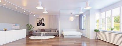Zona da cama da parede de vidro no interior Imagens de Stock Royalty Free