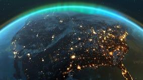 Zona de América da terra do planeta com noite e nascer do sol
