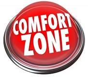 A zona de conforto exprime a segurança da segurança do botão ilustração stock