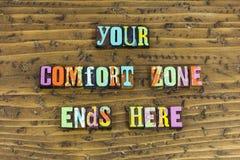 A zona de conforto termina aqui vida começa imagem de stock royalty free