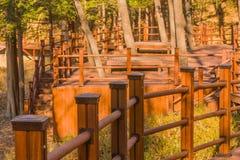 Zona de descanso con dos mesas de picnic Imagenes de archivo