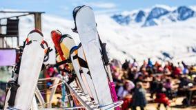 Zona de descanso para los esquiadores Imagenes de archivo