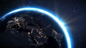 Zona de Europa de la tierra del planeta con noche y salida del sol del espacio stock de ilustración