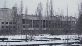 Zona de exclusión de Pripyat Chernóbil del fantasma en el invierno almacen de metraje de vídeo