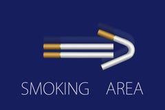 Zona de fumadores. Poste indicador a. Fotografía de archivo