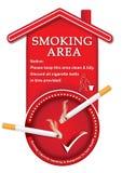 Zona de fumadores señalada - etiqueta engomada imprimible Fotos de archivo libres de regalías