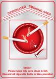 Zona de fumadores señalada - etiqueta engomada imprimible Imágenes de archivo libres de regalías