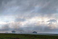 Zona de guerra con los tanques imagen de archivo