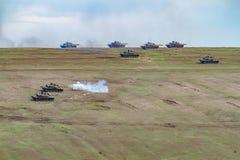 Zona de guerra con los tanques Fotografía de archivo