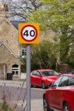 Zona de 40 kilómetros por hora Foto de archivo libre de regalías
