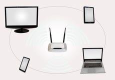 Zona de la conectividad de Internet inalámbrico con el teléfono elegante del monitor del router de la etiqueta de escritorio del  Imagen de archivo libre de regalías
