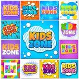 Zona de los ni?os Banderas y etiquetas del patio del juego de los niños con las letras de la historieta Los alumnos parquean vect stock de ilustración