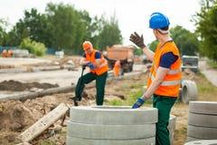Zona de trabalho da construção de estradas Fotografia de Stock Royalty Free