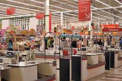 Zona del efectivo en el supermercado Fotografía de archivo