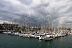 Zona del porto di Vell della porta Barcellona, Catalogna, Spagna Fotografia Stock