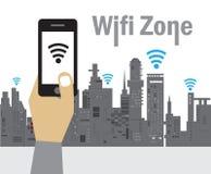 Zona del Wi-Fi, tecnología de la conexión inalámbrica Imagen de archivo