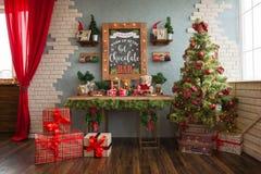 Zona della foto del ` s del nuovo anno, posizione del ` s del nuovo anno, barra di cioccolato Fotografie Stock