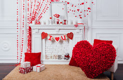 Zona della foto di San Valentino con un camino Fotografia Stock Libera da Diritti
