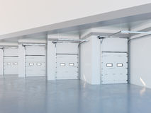 Zona della zona adibita al carico dell'illustrazione moderna del magazzino 3d Immagini Stock